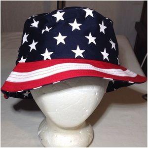 NWT KBETHOS USA Stars & Stripes Bucket Hat